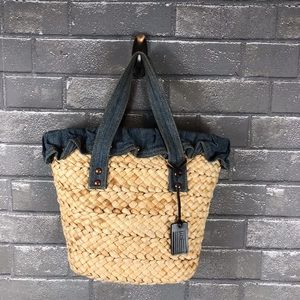 Ralph Lauren Denim and Straw Bag